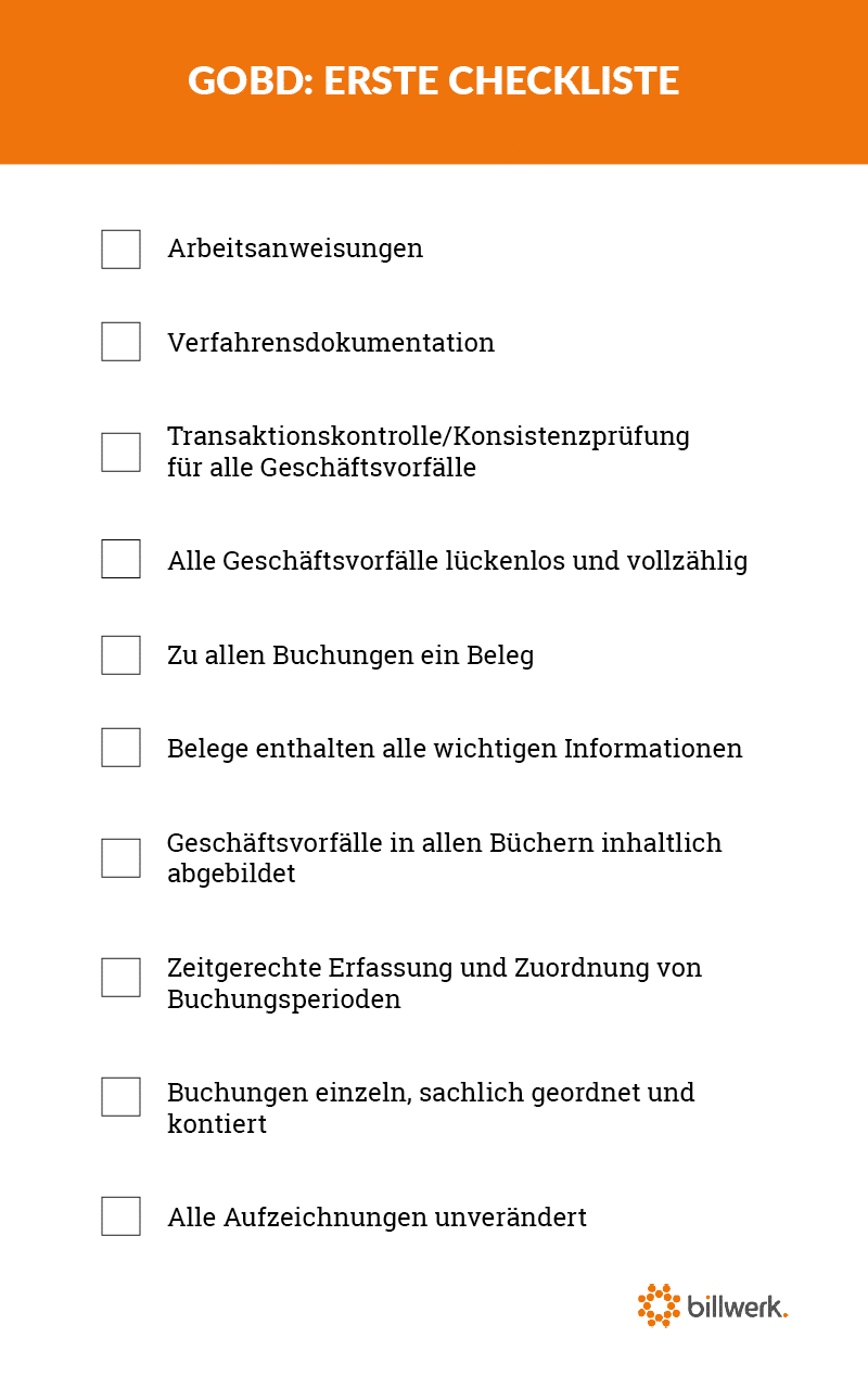 Subscription Unternehmen Checkliste GoBD