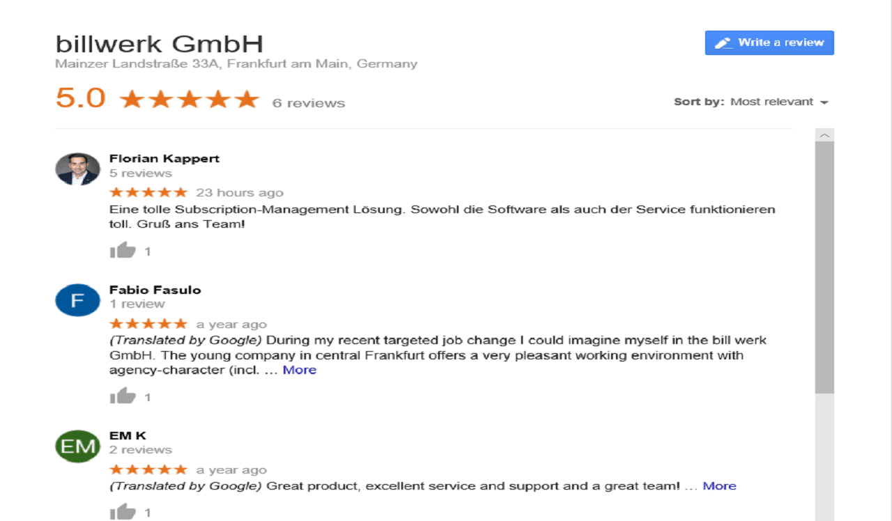 GOOGLE | Bewertungen - Ratings - Reviews | billwerk
